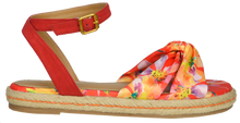 Load image into Gallery viewer, Ankle Strap Floral Sandal- Red