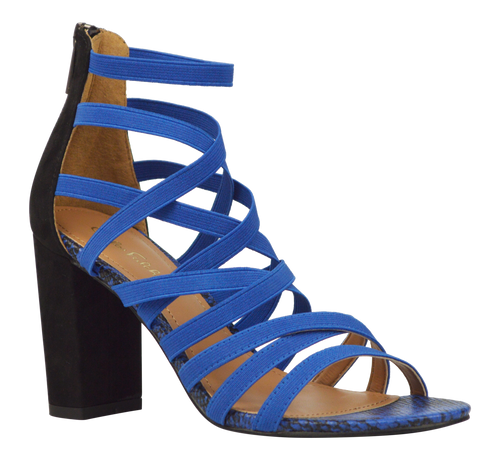 Strappy Heel- Black and Blue