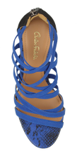 Load image into Gallery viewer, Strappy Heel- Black and Blue