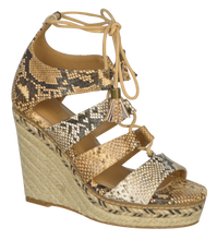 Load image into Gallery viewer, Strappy Lace up Wedge- Python