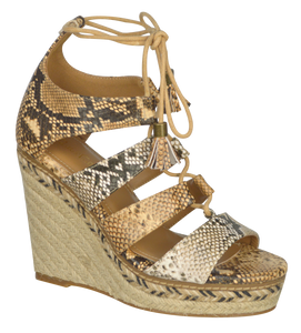 Strappy Lace up Wedge- Python