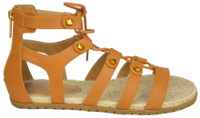 Load image into Gallery viewer, Studded Gladiator Sandal- Saddle