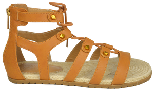 Studded Gladiator Sandal- Saddle