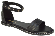 Load image into Gallery viewer, Studded Ankle Strap Flat Sandal - Black