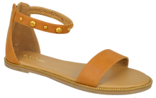 Load image into Gallery viewer, Studded Ankle Strap Flat Sandal - Saddle