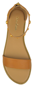 Studded Ankle Strap Flat Sandal - Saddle
