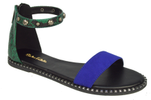 Load image into Gallery viewer, Studded Ankle Strap Flat Sandal - Blue and Green