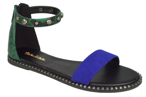 Studded Ankle Strap Flat Sandal - Blue and Green
