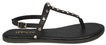 Load image into Gallery viewer, Studded T Strap Sandal- Black