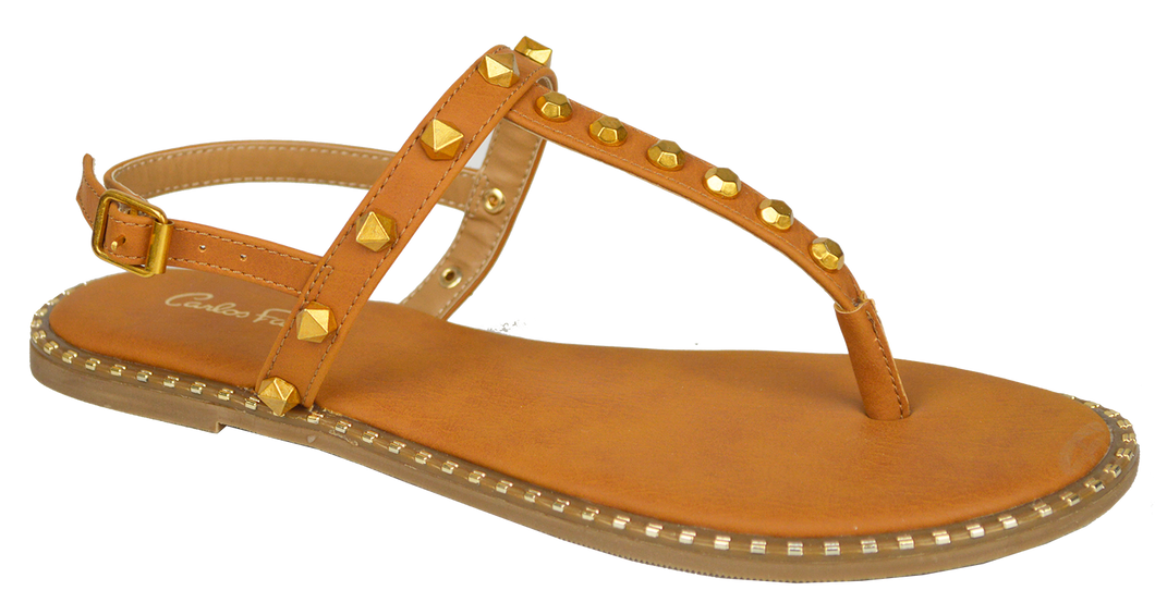 Studded T Strap Sandal- Saddle