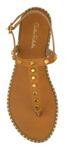 Load image into Gallery viewer, Studded T Strap Sandal- Saddle