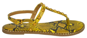Studded T Strap Sandal- Yellow Python