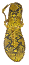 Load image into Gallery viewer, Studded T Strap Sandal- Yellow Python