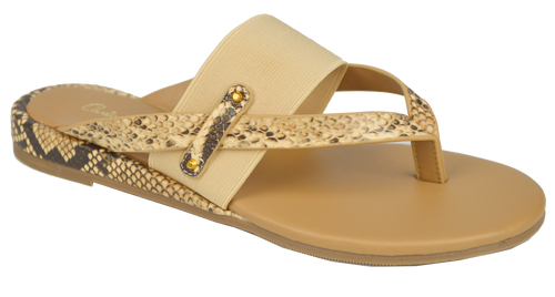 Strappy Thong Sandal- Nude/ Python