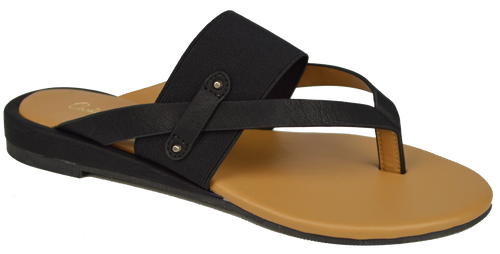Strappy Thong Sandal- Black
