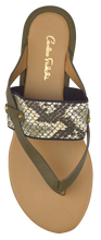 Load image into Gallery viewer, Strappy Thong Sandal- Olive/ Python