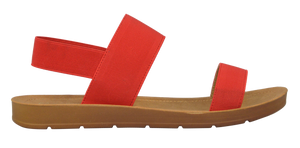 Banded Sandal- Red Suede