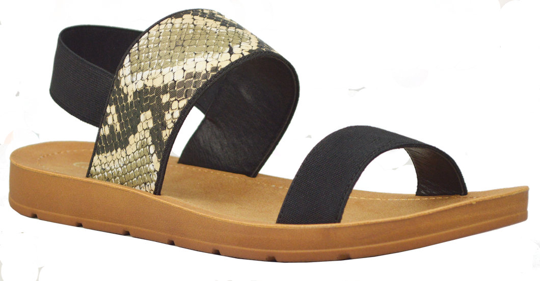 Banded Sandal - Black and Python