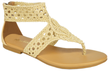 Load image into Gallery viewer, Macrame Ankle Strap Flat Sandal - Ivory