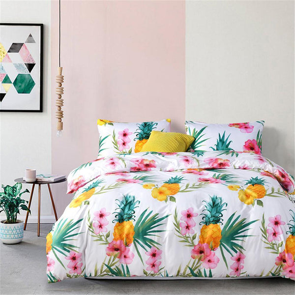 3pcs Luxus Ananas Print Bettbezug Bettwäscheset Twin Queen King Size