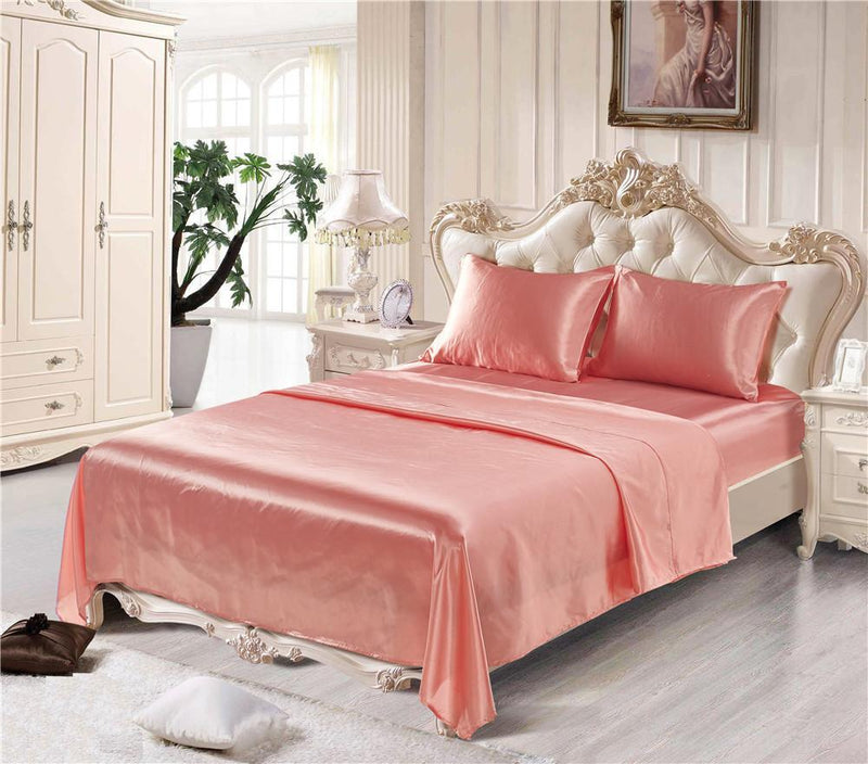Imitation Silk 4PCS Bettwäsche-Sets Heimtextilien Bett Set