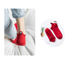 Funny Cute Face Embroidered Ankle Socks