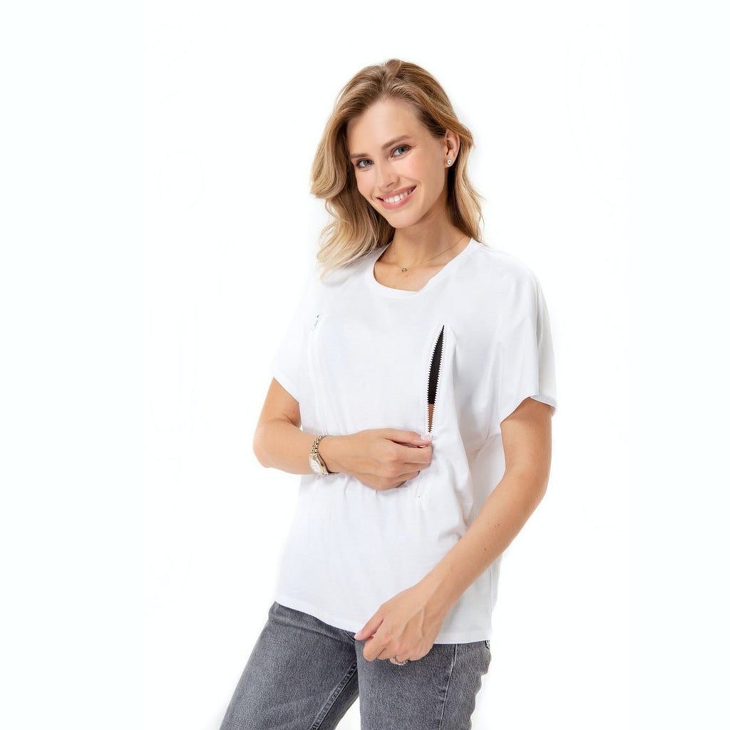 Zip Up T-Shirt for Pregnancy, Nursing & Beyond