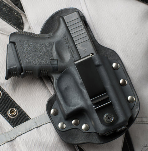Glock 26 27 33 Single Point Carry Black Leather Holster