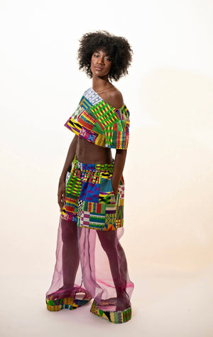 Afro Print Set Purple - Top & Bottom