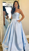 Strapless Long Prom Dress With Pocket, Popular Eveing Dress ,Fashion Winter Formal Dress PDP0013