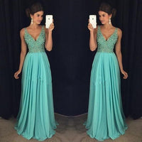 V-neck Long Prom Dress with Beading,Fashion Dance Dress,Sweet 16 Dress PDP0220
