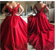 Load image into Gallery viewer, Off Shoulder Ball Gown Long Prom Dress with Applique and Beading ,Fashion Dance Dress,Sweet 16 Quinceanera Dress PDP0278