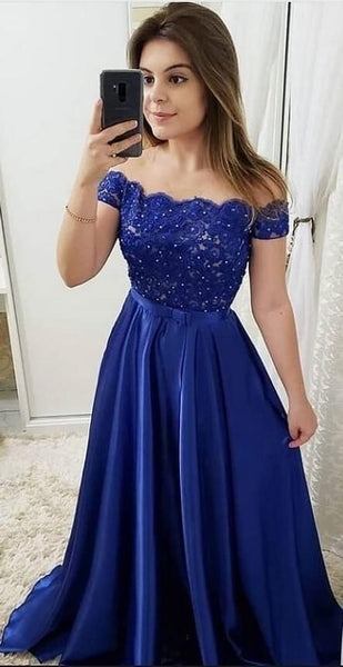 Off Shoulder Long Prom Dress with Applique and Beading,Fashion Dance Dress,Sweet 16 Dress PDP0214