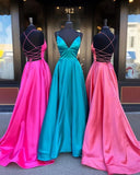 2020 V-neck Prom Dresses with Lace up Back , Long Prom Dress ,Fashion School Dance Dress Formal Dress PDP0692
