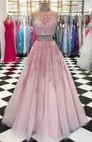 2020 Two Pieces Long Prom Dresses with Applique and Beading 8th Graduation Dress School Dance Winter Formal Dress PDP0489