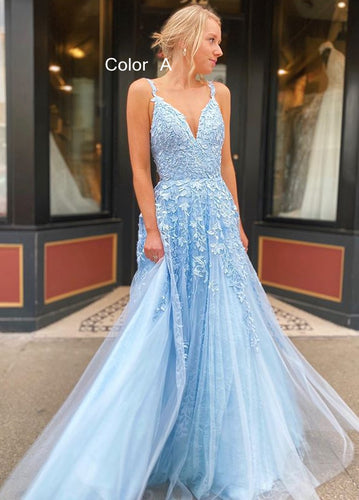 2021 V-neck A-line Long Prom Dresses with Appliques and Beading Fashion Formal Dress BP004