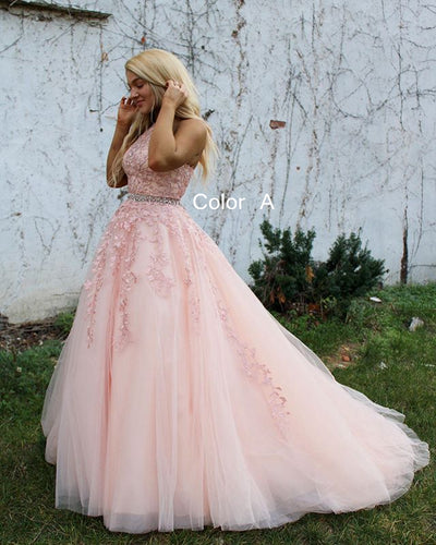 2021 Ball Gown Lace up Back Long Prom Dresses with Appliques and Beading Fashion Formal Dress BP008