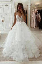 Load image into Gallery viewer, V-neck Lace/Tulle Wedding Dresses ,Fashion Custom made Bridal Dress PDW061
