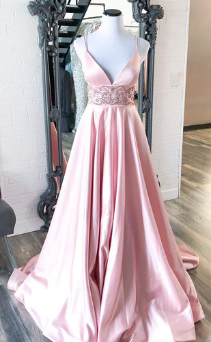 V-neck Long Prom Dresses with Beading Winter Formal Dresses,Evening Dresses PPS155