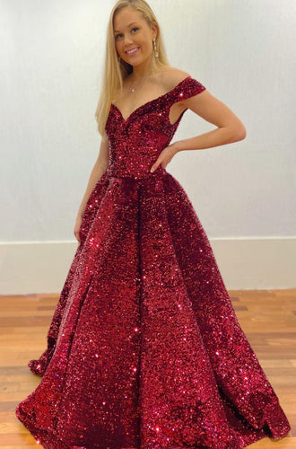 Off Shoulder Sparkly Long Prom Dresses Winter Formal Dresses,Evening Dresses PPS148