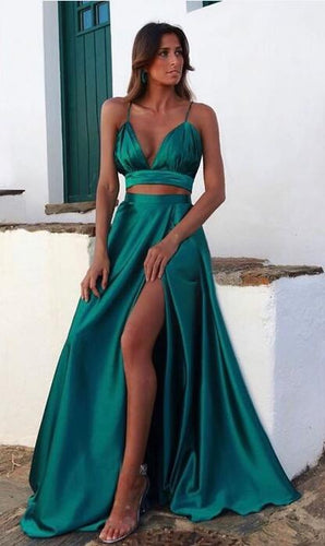 2021 Sexy Two Pieces Long Prom Dresses, School Dance Dresses ,Fashion Winter Formal Dress PPS056