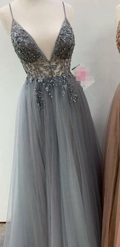 V neck A-line Long Prom Dress with Beading ,Fashion Dance Dress,Sweet 16 Quinceanera Dress PDP0284