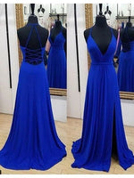 V-neck Simple Long Prom Dress With Slit,Fashion Winter Formal Dress PDP0158