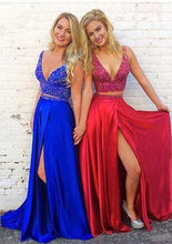 Load image into Gallery viewer, V-neck Two Pieces Long Prom Dress with Beading,Fashion School Dance Dress PDP0135