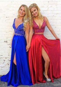 V-neck Two Pieces Long Prom Dress with Beading,Fashion School Dance Dress PDP0135