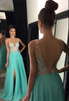 V neck A line Long Prom Dress with Beading,Fashion Dance Dress,Sweet 16 Dress PDP0241
