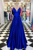 V-neck A-line Long Prom Dress, Popular Dance Dress ,Fashion Wedding Party Dress PDP0037