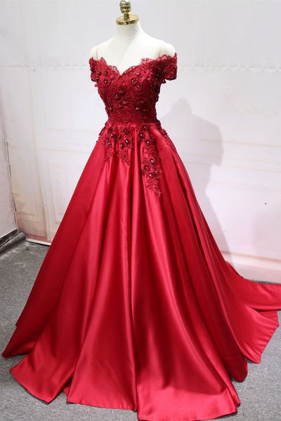 Off Shoulder Long Prom Dress with Applique and Beading,Fashion Dance Dress,Sweet 16 Dress PDP0226
