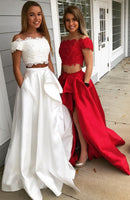 Two Pieces Off Shoulder Long Prom Dress,Fashion School Dance Dress PDP0132