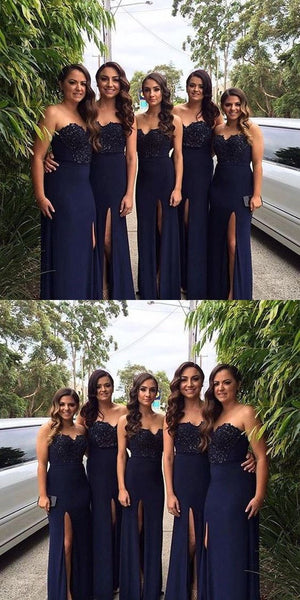 Sweetheart Mermaid Bridesmaid Dress with Slit,Fashion Wedding Party Dress PDB005